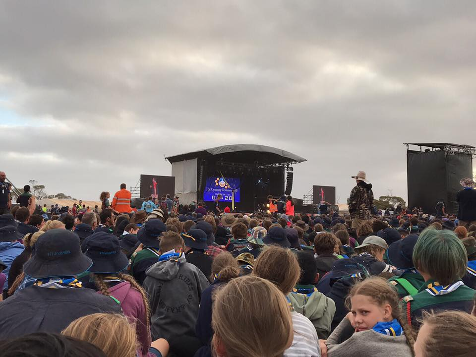 Thousands of scouts gather for the entertainment on the big stage on opening night.